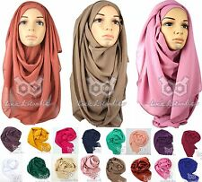 Top Quality *Chiffon* Maxi Plain Large Scarf/Hijab/Sarong/Shawl/Stole Silk Lady