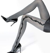 "Silver Grey Opaque Patterned Tights Melange ""SI"" - 50 Denier"