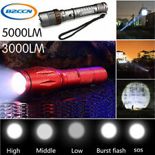 Zoomable Tactical Flashlight 5000LM CREE XM-L T6 LED Torch Lamp+Battery+Charger