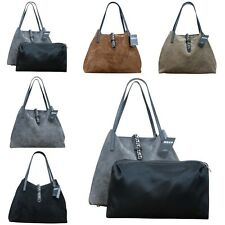 Made in Italy Luxus Damen Schultertasche Beutel Leder Wildleder Shopper