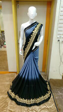 New Designer Bollywood Indian Saree Fabric Georgette Embroidered Party wear Sari