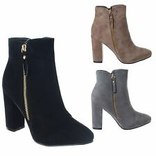 LADIES WOMENS NEW HIGH CHUNKY BLOCK HEEL ZIP UP CHELSEA ANKLE BOOTS SHOES SIZE