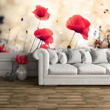 Red Poppy Bloemen Misty Achtergrond Bloemen Wall Mural Nature Photo Wallpaper