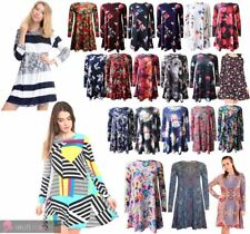 WOMEN'S PAISLEY TULIP BLOSSOMS PRINT LONG SLEEVE SWING DRESS PLUS SIZE
