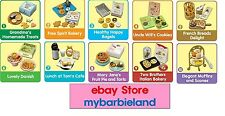 Re-ment Full Set of 10 BREAD & BUTTER Barbie Size Miniature Food
