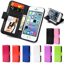 Pu Leather Flip Wallet Cover with Card Slots for iPhone +  Free Screen Protector