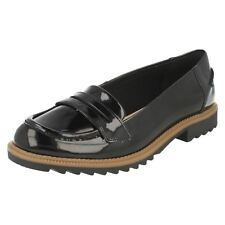 Ladies Griffin Milly Black Patent Loafer Shoes by Clarks retail £44.99 (D Fit)