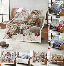 Luxury Photographic Print Super Soft Sherpa Faux Fur Blanket Throw Bed Sofa Home