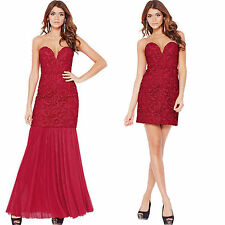 Forever Unique Womens Lace Short Long Dress Red Evening Cocktail Prom Gown Size