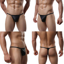 Sexy Men's Pouch Underpant PU Leather Bikini Brief G-string Underwear Thongs SML