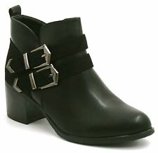 LADIES WOMENS WORKER COMBAT BIKER RIDER FLAT ZIP BUCKLE ANKLE BOOTS SHOES SIZE 3