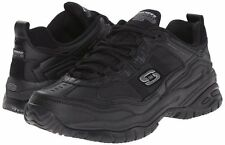 SKECHERS FOR WORK Black 77042 OXFORD LEATHER SHOES MEN
