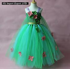 Frozen Fever Elsa Vestito Compleanno Carnevale in Tulle Cosplay Dress up 789050