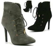 WOMENS SEXY POINTED TOE STILETTO HIGH HEEL LACE UP ANKLE BOOTS SHOES