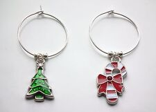 Christmas Wine Glass Charms  Choice of Enamel Candy Cane or Christmas Tree  Xmas