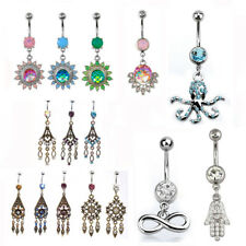 Belly Bars Crystal Gem Rose Gold Opal Heart Star Dangly Navel Piercing 1.6x10mm