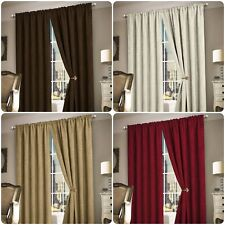 Heavy Thermal Plain Chenille Ready Made Lined Curtain Pair Pencil Pleat Cream