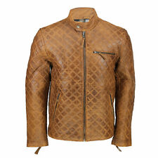 Mens Real Leather Tan Brown Smart Casual Quilted Biker Style Bomber Jacket