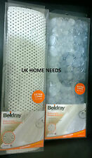 BELDRAY BATH SHOWER MAT EX LONG SUCTION ANTI BACTERIAL SLIP CUSHIONED PEBBLE H.Q