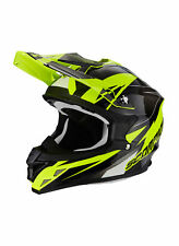 Casco Cross Enduro Moto Motocross SCORPION VX 15 Nero Lucido Giallo Fluo Enduro