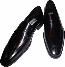 Mens Ronaldo Handmade Solid Black Italian Leather Loafer Slip On Dress Shoe