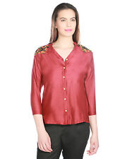 OPUS Red Chanderi Silk Casual Embroidered Fusion Wear Women's Top