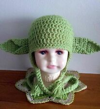 Crochet green star wars baby yoda hat  photo props costume 3-6 MONTHS TO ADULT.