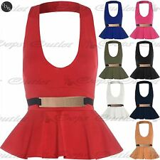 Ladies Womens Halter Neck Frill Peplum Bodycon Mini Dress Sleeveless Belted Top