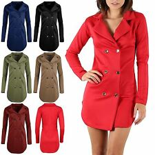 Womens Ladies Golden Button Duster Cardigan Tuxedo Collared Bodycon Mini Dress