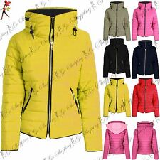 Ladies Womens Padded Coat Puffer Quilted Fur Bubble Zip Up Collar Thick Jacket
