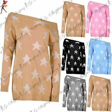 Ladies Womens Off The Shoulder Star Seeing Sweater Knitted Jumper Oversized Top