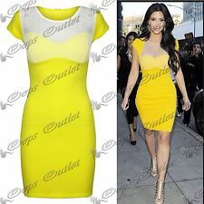 Womens Ladies Celeb Padded Inspired Bra Insert Mesh Pencil Mini Bodycon Dress
