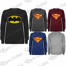 Ladies Womens Hero Comic Sweater Superman Batman Sweatshirt Jumper Top Size 8-14