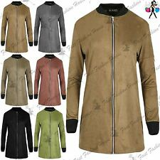Womens Suede Contrast Collared Longline Ladies Cuffed Zipper Up Bomber Jacket