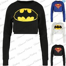 Womens Superman Batman Fleece Sweatshirts Superhero Strechy Pullover Cropped Top