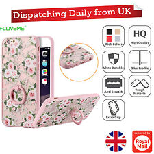 For Apple iPhone 6 Ultra-thin Silicone Flower Ring Holder Hard Back Case Cover