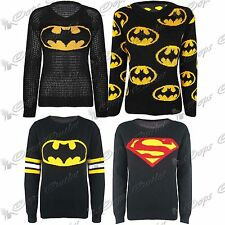 Ladies Womens Knitted Knitwear Batman Super Hero Sweater Jumper Top Size 8-14