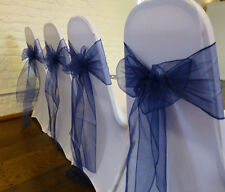 ✫Navy Organza Chair Sash Bow Runners✫Packs 50✔75✔100✔London Seller L@@k  ✫