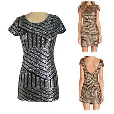 Women Bodycon Mini Dress Bling Sequins Backless Bandage Party Cocktail Clubwear