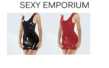 Latex Rubber Mini Dress Fetish Wear Black Red Sexy Emporium | UK | Sizes 8-16