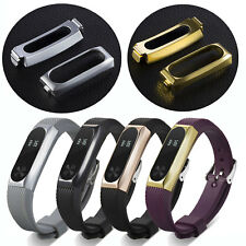 Silicone Wrist Strap Watch Band w/Protective Metal Holder For Xiaomi Mi Band 2