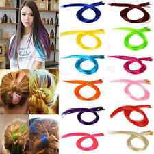 10 Extension De Cheveux Perruque Long Coloré Fiber Synthétique Rajout à Clip DIY
