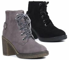 WOMENS LADIES FAUX SUEDE CHUNKY MID HIGH BLOCK HEEL WORK ANKLE BOOTS SHOES SIZE