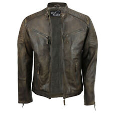 Mens Real Leather Fitted Brown Retro Biker Vintage Urban Zip Casual Jacket