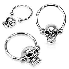 New Surgical Steel Skull Head Captive Bead Ring Septum Hoop 16g 14g