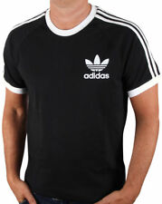 New Adidas Originals Crew Neck Trefoil Black White Blue T Shirt Tee RRP £25