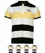 DI MODA Everlast Yarn Dye Stripe Polo Shirt Mens Black/Wht/Ylw