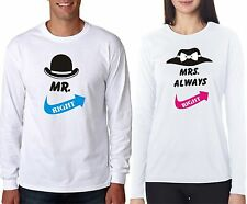 Osiyankart full sleeves Mr Right Mrs Right couple t shirt 4 all hot & sexy coup
