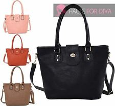 NEW SIMPLE PLAIN ROTATING CLASP DETAIL FAUX LEATHER SHOULDER TOTE BAG