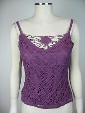 Gorgeous hand crocheted purple camisole beaded with shells (refG15)